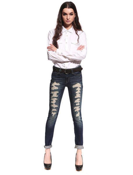 Hailey Distressed & Ripped Skinny Jeans - Anladia - 2