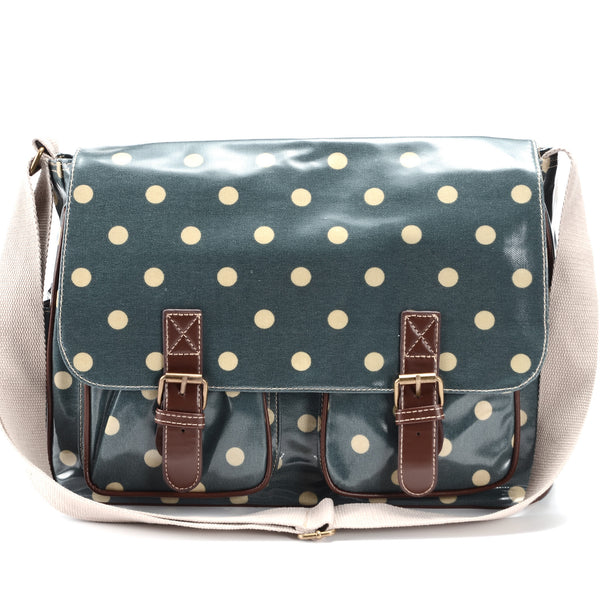 Large Green Oilcloth Satchel Bag - Anladia - 1