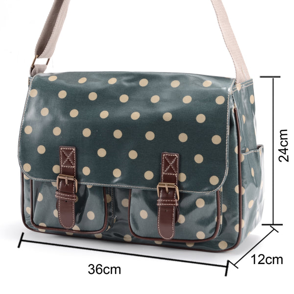 Large Green Oilcloth Satchel Bag - Anladia - 4