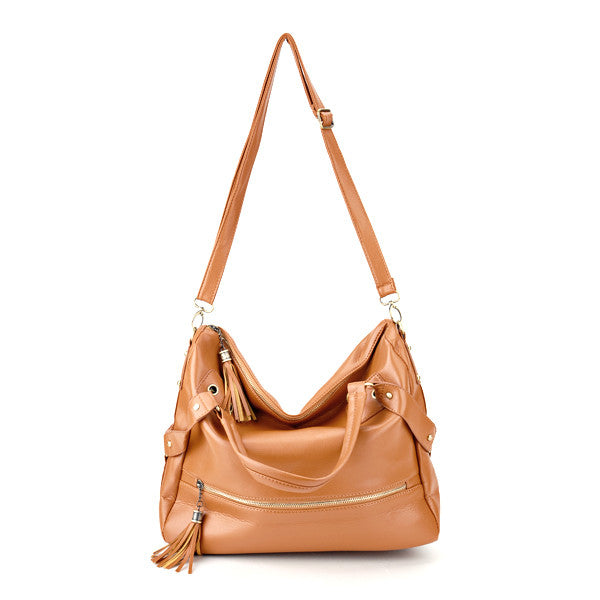 Tassel Leather Shoulder Bag - Anladia - 8