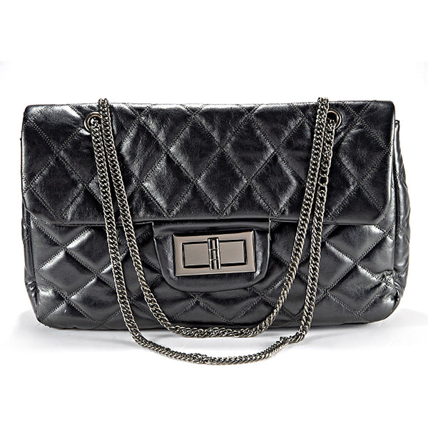 Quilted Chain Messenger Bag - Anladia - 1