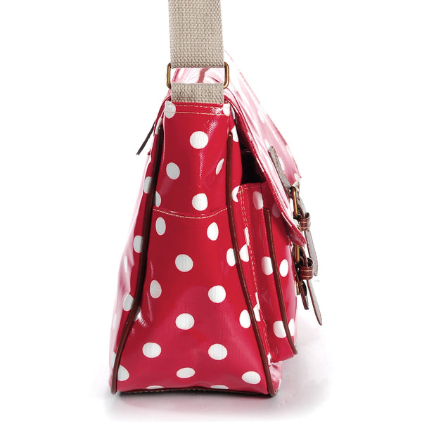 Red Oilcloth Satchel Bag - Anladia - 4