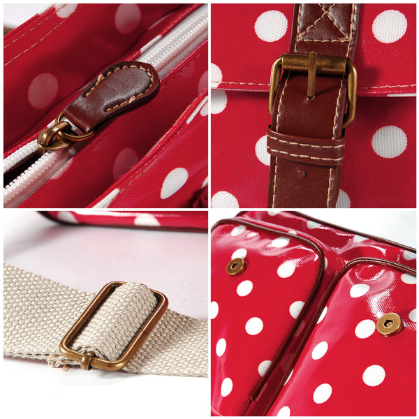 Red Oilcloth Satchel Bag - Anladia - 5
