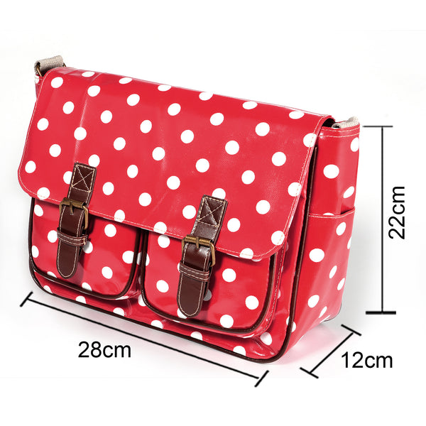Red Oilcloth Satchel Bag - Anladia - 6