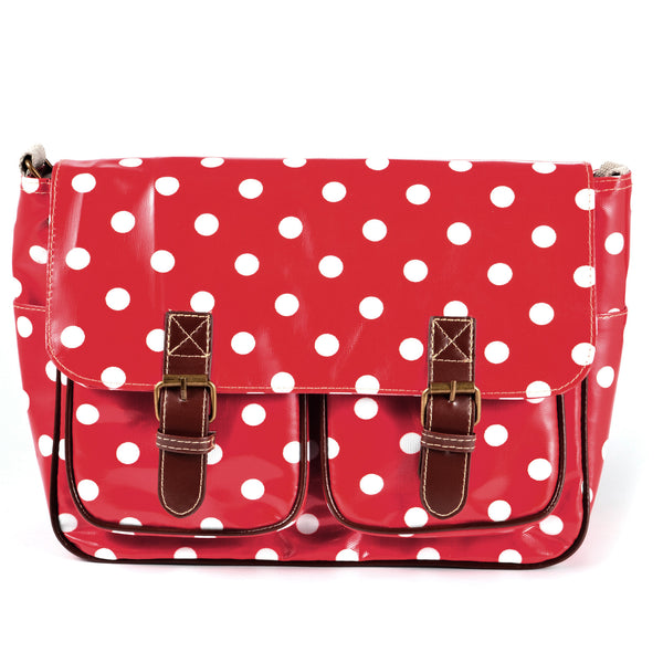 Red Oilcloth Satchel Bag - Anladia - 1