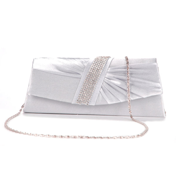 Diamante Pleated Clutch Bag - Anladia - 1
