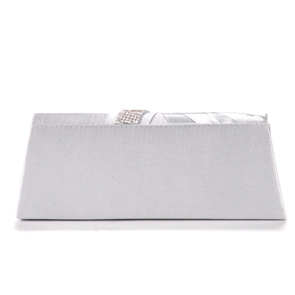 Diamante Pleated Clutch Bag - Anladia - 5
