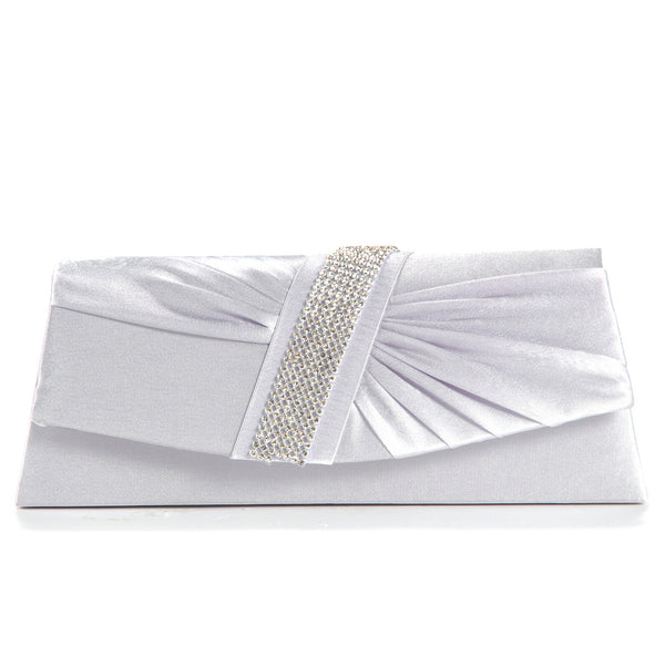 Diamante Pleated Clutch Bag - Anladia - 2