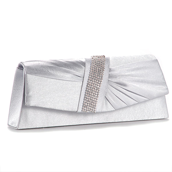 Diamante Pleated Clutch Bag - Anladia - 3