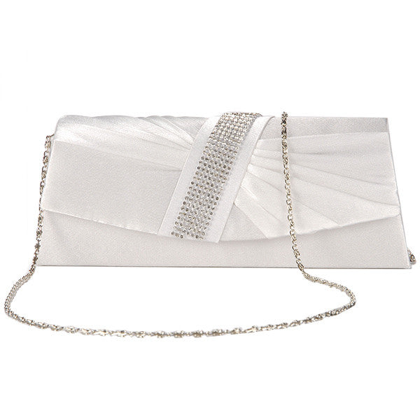 Diamante Pleated Clutch Bag - Anladia - 11