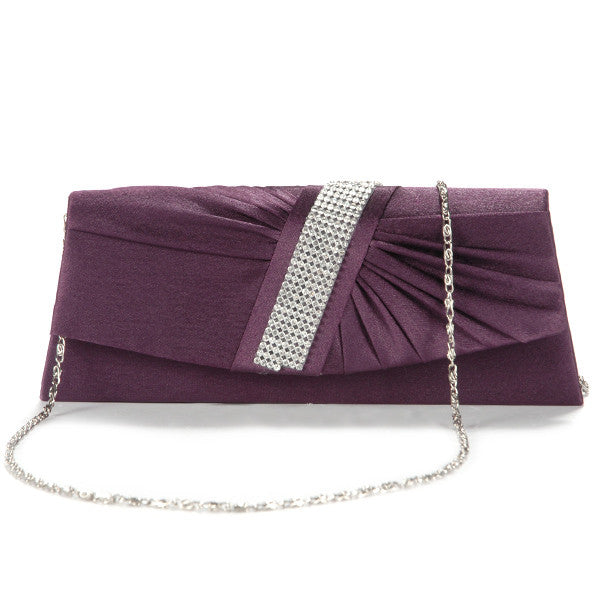 Diamante Pleated Clutch Bag - Anladia - 12