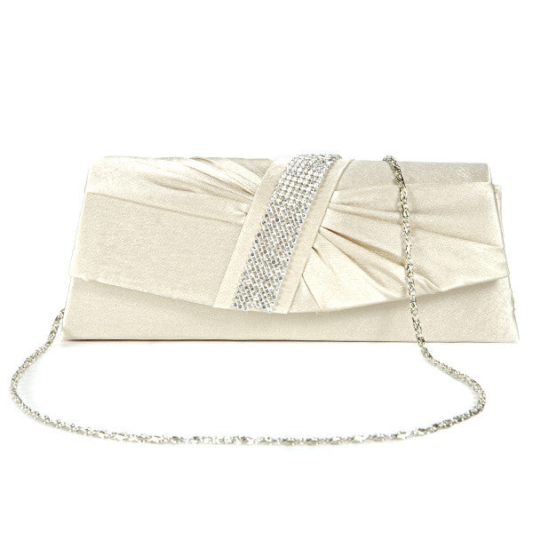 Diamante Pleated Clutch Bag - Anladia - 10