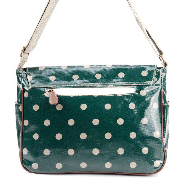 Dark Green Oilcloth Satchel Bag - Anladia - 2