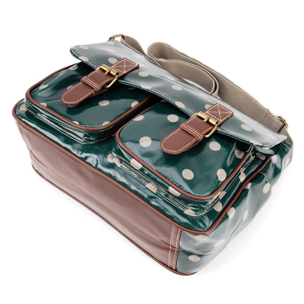 Dark Green Oilcloth Satchel Bag - Anladia - 3