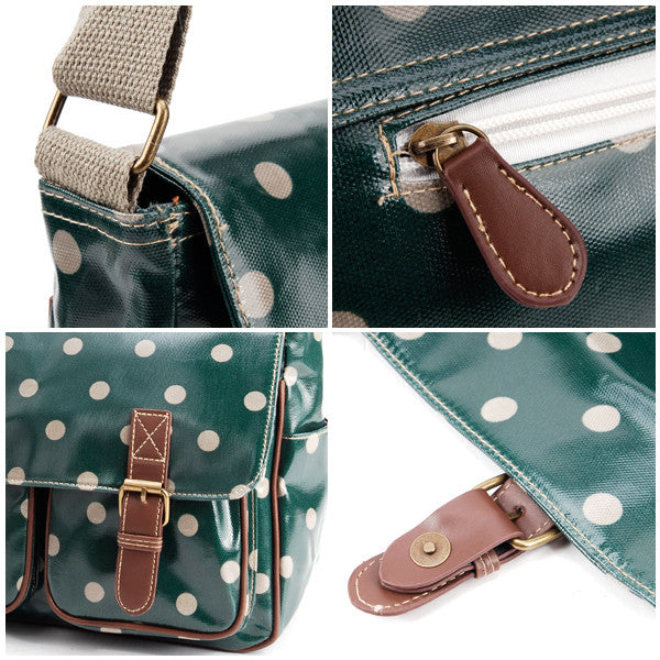Dark Green Oilcloth Satchel Bag - Anladia - 5