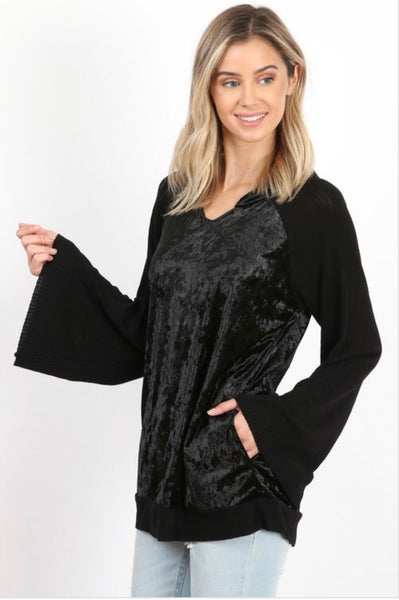Velvet Hoodie with Bell Sleeves and Pockets
