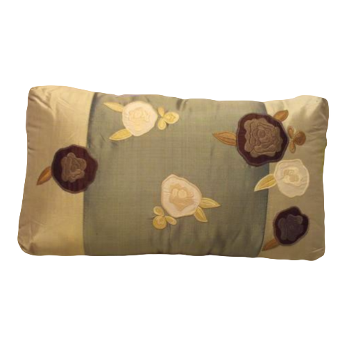 Joy Oy Decorative Pillow (18x10) Blue/Green with White/Brown flowers