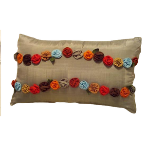 Joy Oy Decorative Pillow (20x12) with Rosettes