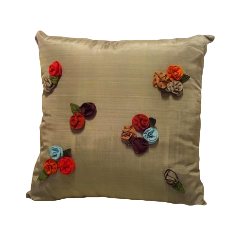 Joy Oy Decorative Pillow (19x19) with Rosettes