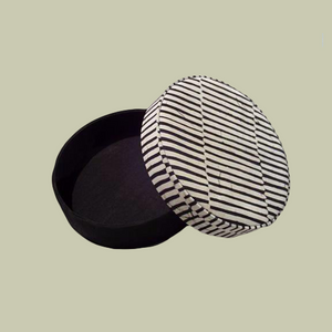 Round Fabric Box - Black/White