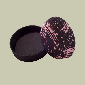Round Fabric Box - Black/Pink