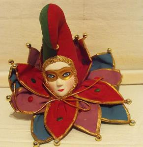 Red and green harlequin clown with gold mask ornament