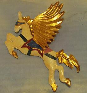 Pegasus ornament with gold wings/tail and green/red harness.