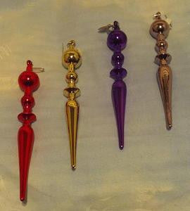 Icicle ornaments  in red, gold, purple and silver.