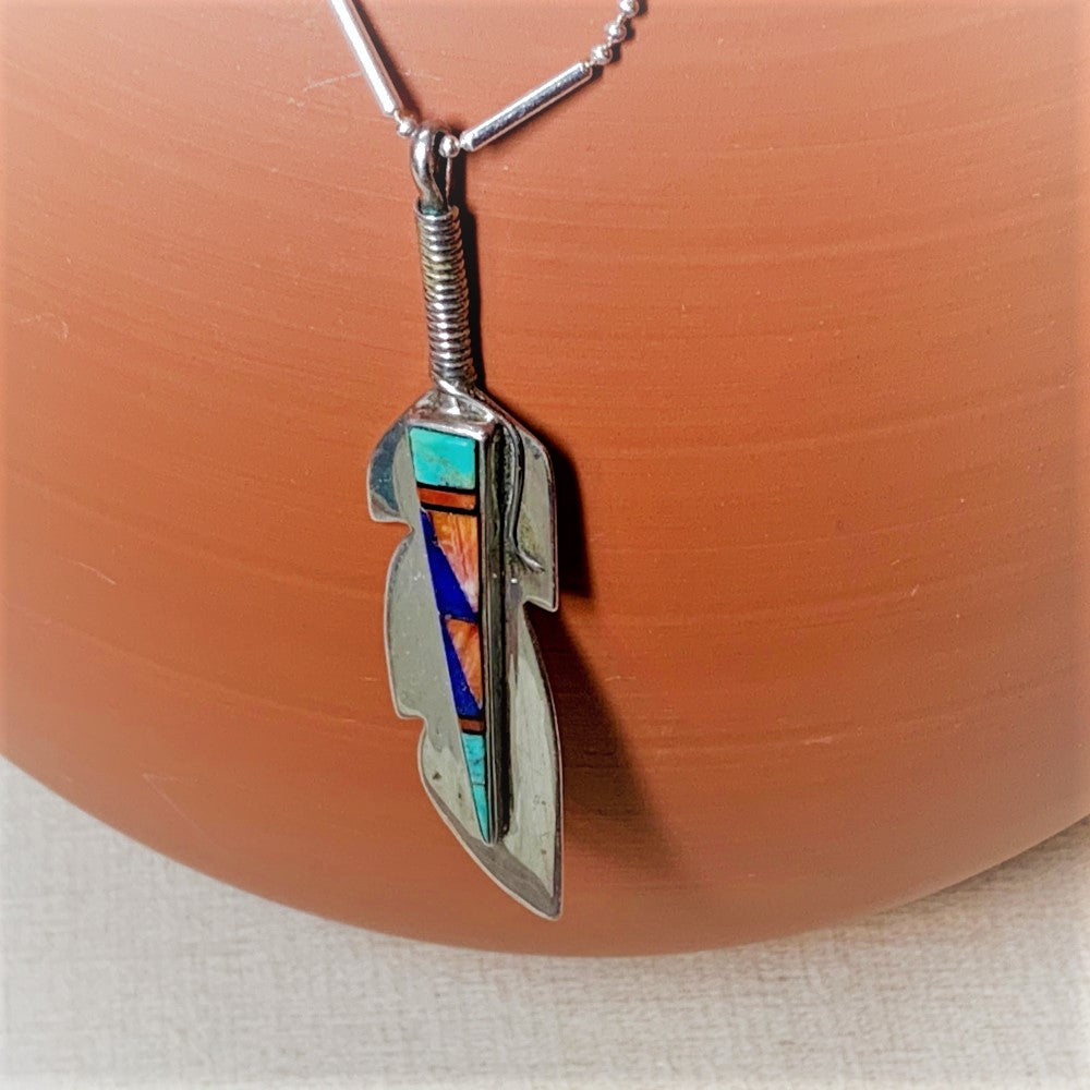 Zuni Silver Feather Necklace