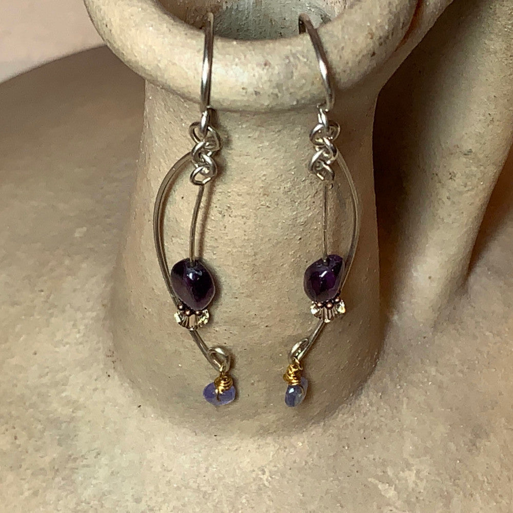 Sterling Silver Earrings w/Amethyst and Tanzanite