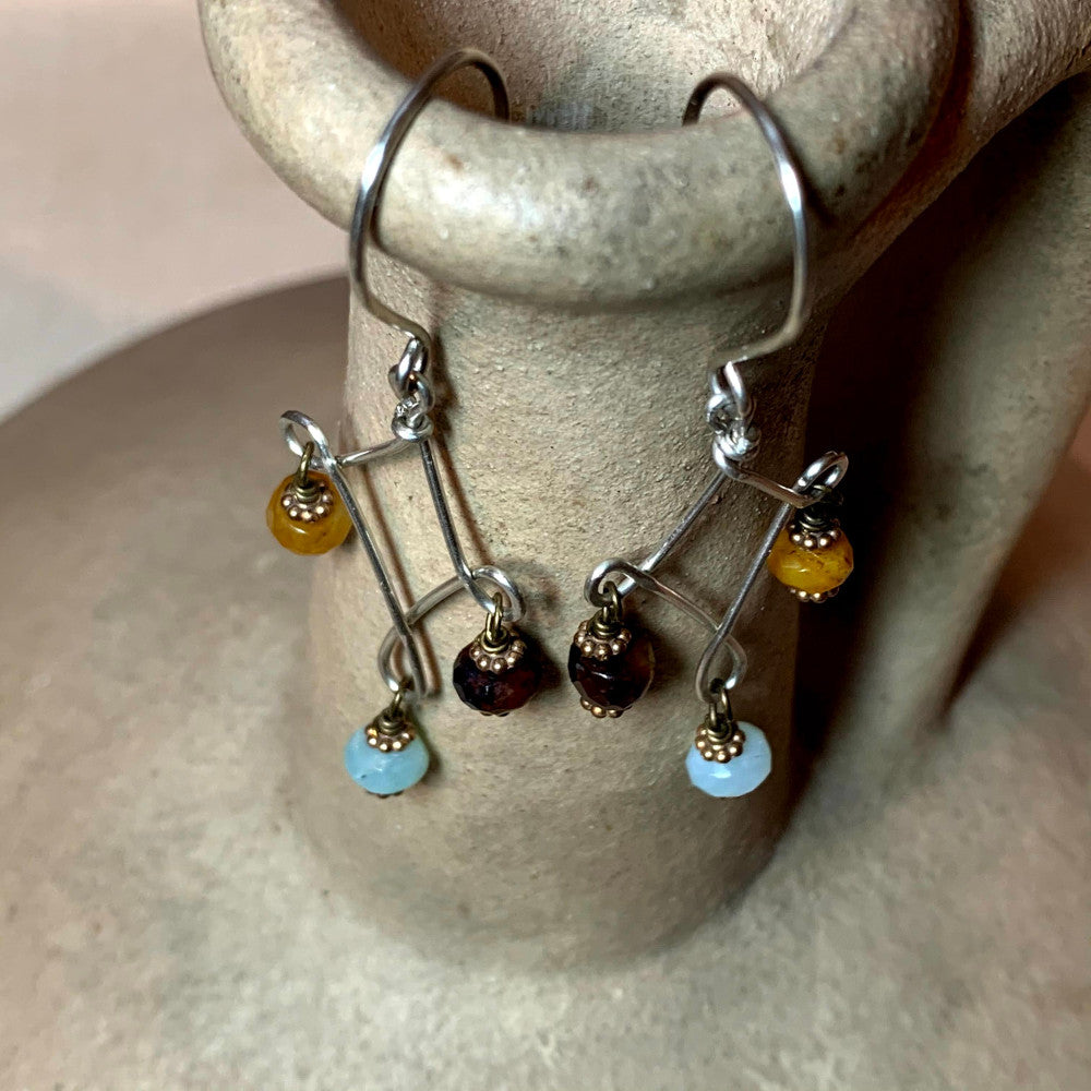 Amazonite and Agate Earrings
