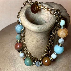 Amazonite and Agate Bracelet