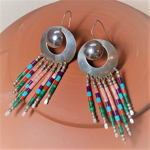 Zuni Silver Earrings - Multi Color