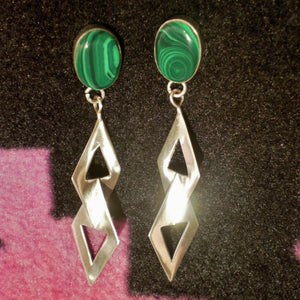 Dangle Earrings - Green Malachite