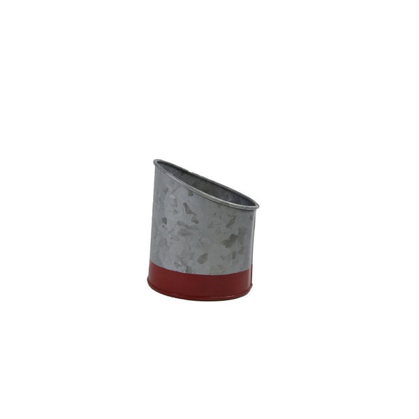 Coney Island Galvanised Pot Slant Dipped Red 105 mm X 115 mm