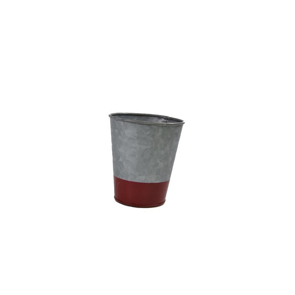 Coney Island Galvanised Pot Flared Dipped Red 100 mm X 95 mm