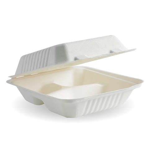7.8 inch X 8 inch X 3 inch 3-Compartment Biocane Clamshell