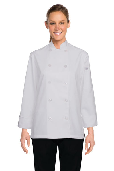 Women's White Basic Chef Jacket W/ Flat Plastic Buttons White