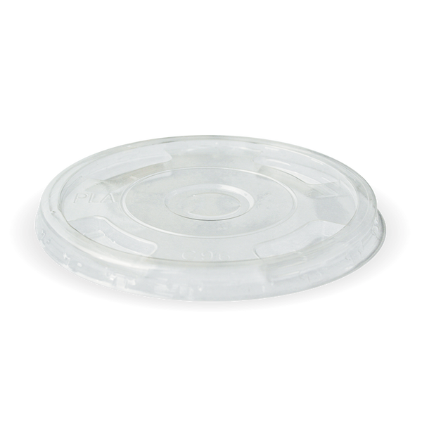 Ingeo Pla 300-700 mL Cup Flat Lid With X-Slot (Clear)