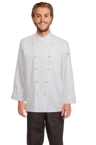 Nice Basic Chef Jacket with Crossover Collar White