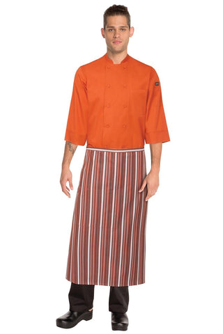 3/4 Bistro Apron Orange/White/Brown