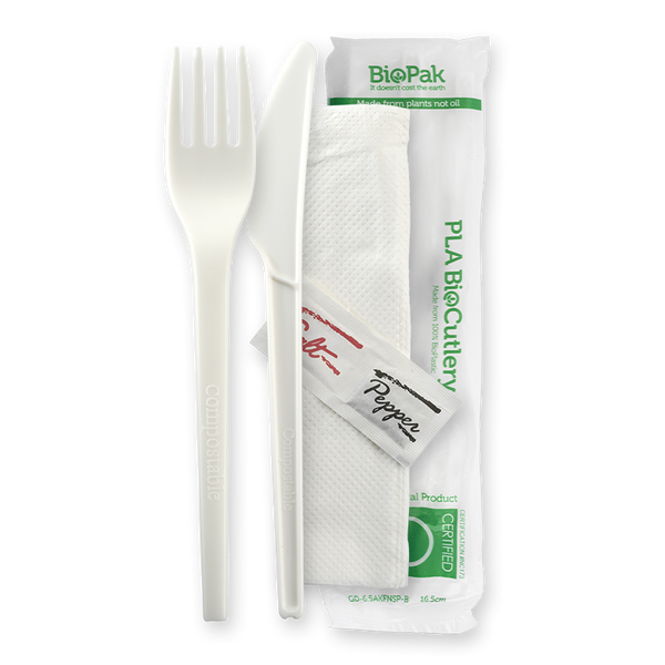 "BioPlastic 6.5"" PLA Knife, Fork, Napkin, Salt & Pepper Set"