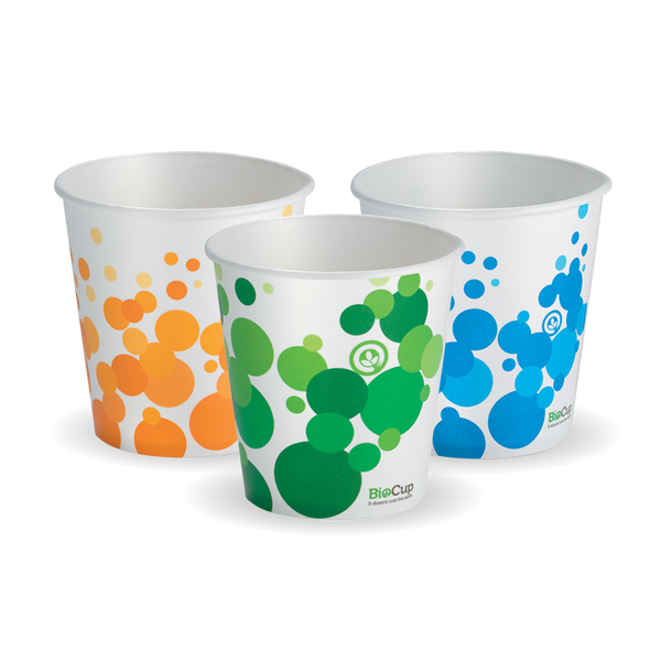 Bio Colour 12 oz Paper Cold Cup (Mix Of Green, Orange & Blue In Each Carton)