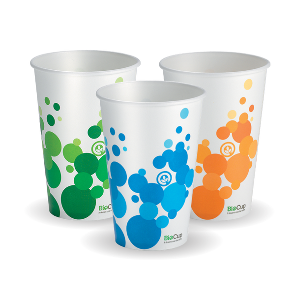 Bio Colour 16 oz Paper Cold Cup  (Mix Of Green, Orange & Blue In Each Carton)