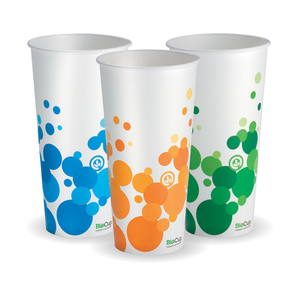 Bio Colour 22 oz Paper Cold Cup (Mix Of Green, Orange & Blue In Each Carton)