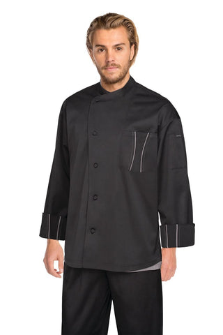 Amalfi Signature Series Chef Jacket with Grey Trim Black