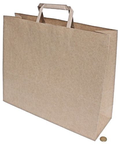 Carry Bag #75 Brown Kraft Flat Handle (340 mm X 320 mm X 145 mm)