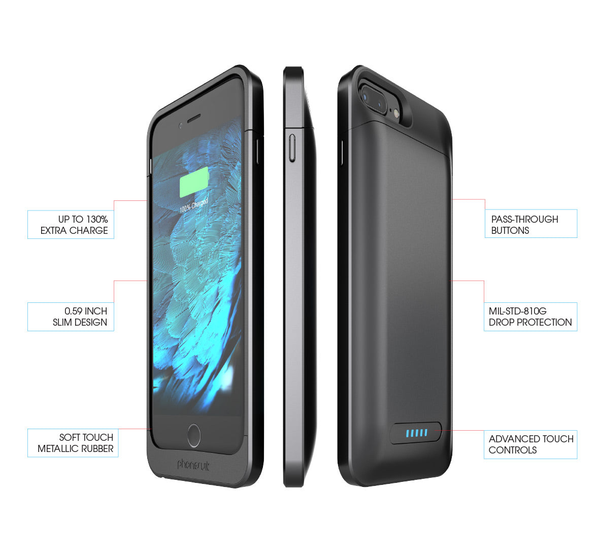 new style 40098 c484a PhoneSuit Elite Plus PRO Battery Case for iPhone 8 Plus & iPhone 7 Plus