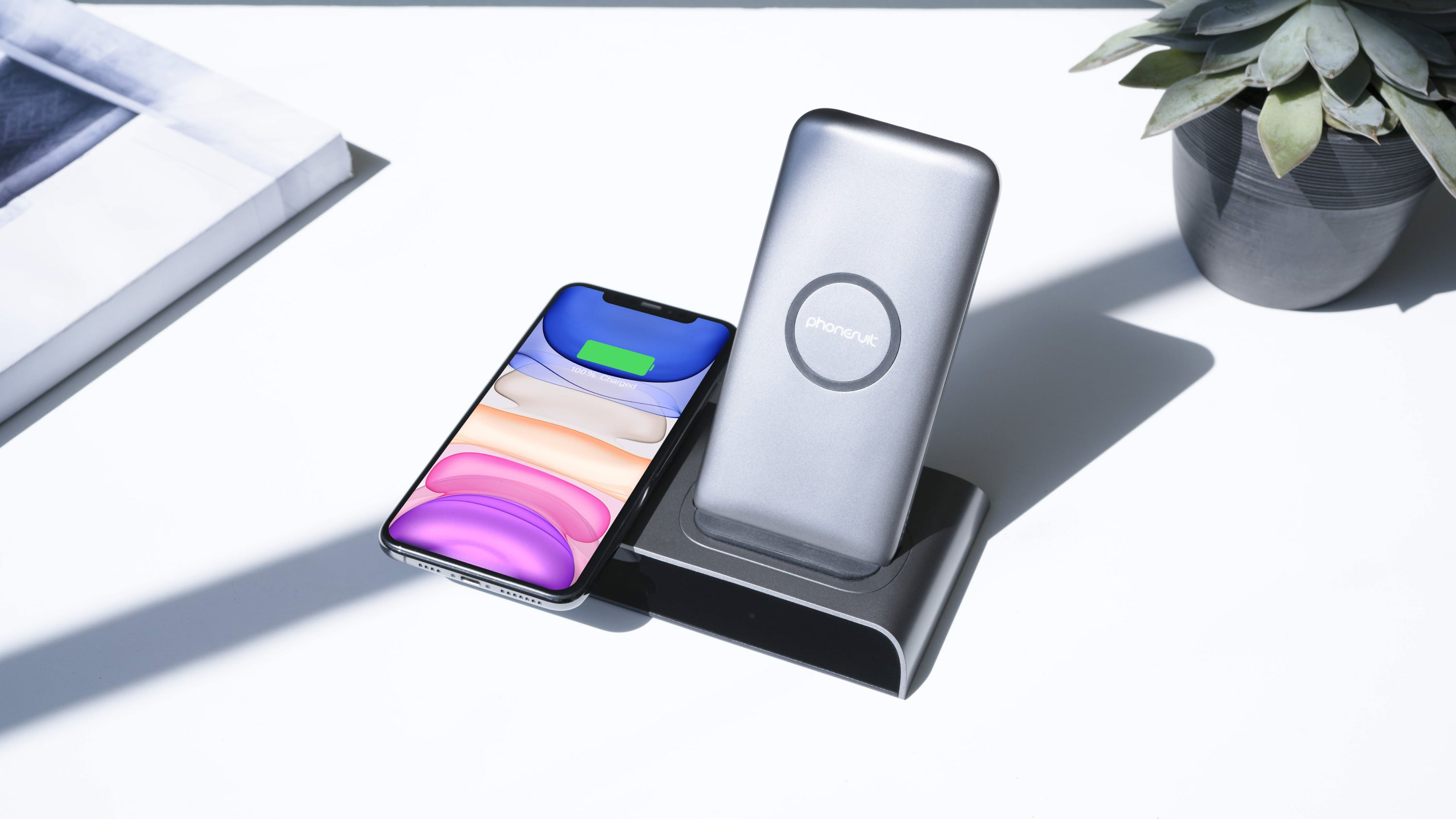 Wireless Station | Charging Dock & Portable Power Bank | 10,000mAh | iPhone