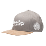 Grey Leather Strapback